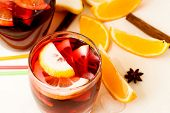 image of sangria  - summer cocktail sangria with fruit in a basket - JPG