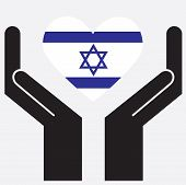 image of israel israeli jew jewish  - Hand showing Israel flag in a heart shape - JPG