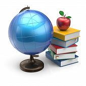 image of geography  - Globe apple books blank global geography icon studying knowledge symbol concept - JPG