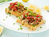 pic of liver fry  - Toasts with mustard sauce liver and stir - JPG
