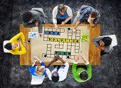 stock photo of scrabble  - Solution Ideas Plan Solving Result Crossword Concept - JPG