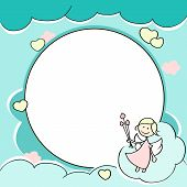 pic of cupid  - Circle frame for valentines day cards with clouds hearts angel and arrow - JPG