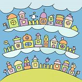picture of row houses  - Colored kids town with clouds and cute elements - JPG