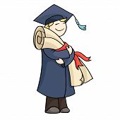 image of graduation hat  - Cartoon graduating man with diploma with red ribbon - JPG