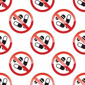 picture of taboo  - Vector image of NO DRUGS sign repeated on white bacground - JPG