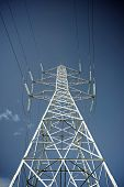 stock photo of power transmission lines  - Power line in Zaragoza province - JPG
