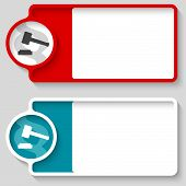 stock photo of lawyer  - Colored boxes for your text and lawyer symbol - JPG