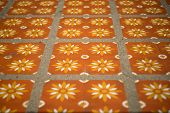 stock photo of ceramic tile  - floor tiles with typical detail of decoration ceramic art - JPG