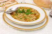 stock photo of tripe  - traditional Polish Tripe Soup  - JPG
