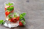 stock photo of mints  - Summer strawberry lemonade with mint and ice - JPG