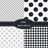 image of color spot black white  - Geometric Seamless Patterns Set - JPG