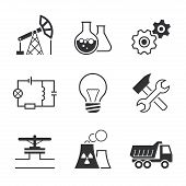 foto of assembly line  - Industry simple vector icon set  - JPG