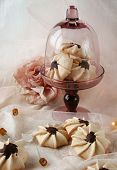 pic of sponge-cake  - Meringue with chocolate, meringues, cake, biscuits, cake with chocolate ** Note: Visible grain at 100%, best at smaller sizes - JPG