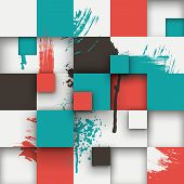 Постер, плакат: Abstract texture with squares and paint splashes