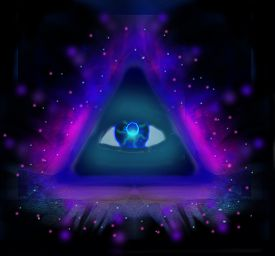 foto of freemasons  - All seeing eye on black abstract background  - JPG