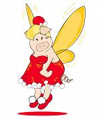 stock photo of tinkerbell  - Illustration of a funny Christmas Fairy Pig - JPG