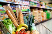 Shopping Cart Full Of Food In Supermarket Aisle Elevated View poster