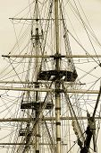pic of yardarm  - tall ship rigging in sepia - JPG