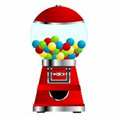 foto of gumballs  - Gumball vending machine isolated over white background - JPG