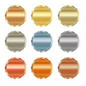 Постер, плакат: Vector Set Of Blank Stamps Of Gold Red Gold White Gold Platinum Silver Bronze Copper Brass A