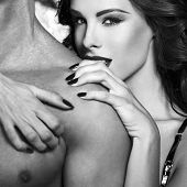 Sexy Woman Embrace Naked Man Shoulder Black And White poster