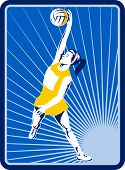 stock photo of netball  - illustration of a Netball player rebounding jumping for ball with sunburst in background - JPG