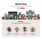 Постер, плакат: Barbershop Flat Line Web Graphics