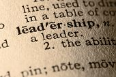 pic of pronunciation  - close-up of the word leadership in a dictionary.