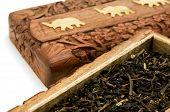 foto of darjeeling  - Ornate box with Darjeeling Tea on a white background - JPG