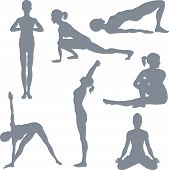 pic of yoga silhouette  - illustrations of a set of yoga postures silhouettes - JPG