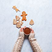 Christmas Ginger Cookies On A Gray-blue Background, Horizontal poster