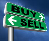 buy or sell market share buying or selling on stock market exchange international trade road sign te poster