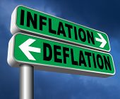 inflation deflation bank crisis or financial and economic recession or stock market crash or rise si poster