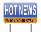 latest hot and breaking news items 3D, illustration poster