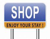 Shop now sign go to the online webshop road sign, internet web shopping billboard 3D, illustration  poster