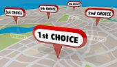 1st Choice First Top Pick Map Pin 5 Choices 3d Illustration poster