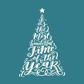 Vector Christmas Vintage Tree Of Holidays Lettering On Blue Background. Merry Christmas Text For Inv poster