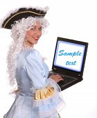 picture of marquise  - Woman in ancient dress of marquise with laptop - JPG