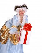 picture of marquise  - Woman in ancient dress of marquise with gift box decoration red bow - JPG