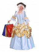 stock photo of marquise  - Woman in ancient dress of marquise with gift bag - JPG