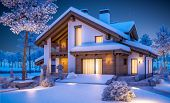 3D Rendering Of Modern Cozy House In Chalet Style poster