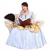 picture of marquise  - Girl in blue long dress with book on chair - JPG