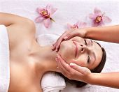 image of beauty parlour  - Young beautiful woman on massage table in beauty spa - JPG