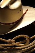 American West Rodeo Cowboy Hat and Lariat Lasso