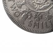 foto of shilling  - super macro closeup of british two shillings coin - JPG