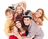 stock photo of party hats  - Group young people in party hat - JPG