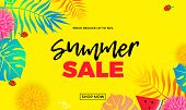 Summer Sale Price Reduce Shopping Vector Palm Leaf Banner poster