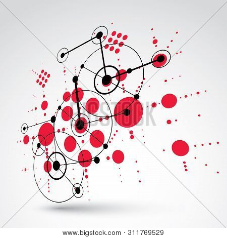 poster of 3d Vector Bauhaus Abstract Background Made With Grid And Overlapping Simple Geometric Elements, Circ