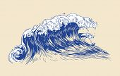 Elegant Colored Drawing Of Sea Or Ocean Wave With Foaming Crest Isolated On Light Background. Oceani poster