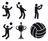 Volleyball Icons Set. Simple Set Of Volleyball Icons For Web Design On White Background poster